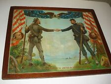 1906 CIVIL WAR VETERANS LITHOGRAPH NORTH & SOUTH SHAKING HANDS,HB SEDGWICK,NICE