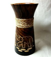 "New Vase Wooden Size 6"" Home Decor Mango Wood Elephant Design"