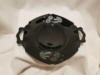 "Vintage LE SMITH Black Amethyst Silver Overlay DAISY Flower Handled 8 1/2"" Plate"