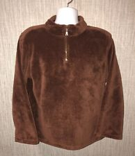 True Grit Mens Brown 1/2 Zip Pullover Fleece Jacket Size XL