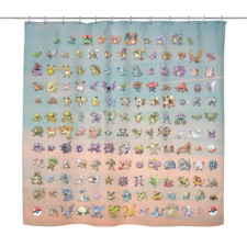 Original 151 Pokemon Shower Curtain - Funny Gamer Bathroom Decor