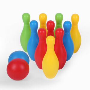 10pcs Kids Colourful Bowling Set Fun Garden Game Activity Children Toys Pins AU
