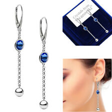 925 Sterling Silver Long 70 mm Earrings SAPPHIRE Genuine Swarovski® Crystals