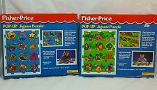 Vintage Fisher Price POP-UP Puzzle 12 interchangeable Pieces 1994 Ceaco Set of 2