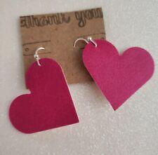 Pink Heart Shaped Earrings Handmade Faux Leather Hot