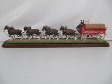 Danbury Mint Budweiser Clydesdales Horses Wagon Cast Iron Replica Horses Rare