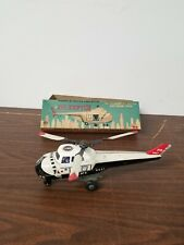 Rosko TIN FRICTION POLICE HELICOPTER W/ SPINNING ROTOR & BOX