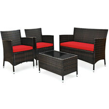 4PCS Rattan Patio Furniture Set Wicker Cushioned Sofa Chair Couch Coffee Table