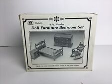 Chadwick 4pc Wooden Doll Furniture Bedroom Set Vintage 1988