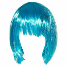 Blue Banana Ladies Womens Fancy Dress Costume Straight Aqua Blue Bob Wig