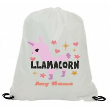 PERSONALISED LLAMACORN LLAMA SUBLIMATION GYM SWIMMING PE DRAWSTRING BAG
