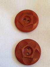 "two (2) vintage brown buttons 7/8""  brown fancy vintage craft repair retro"