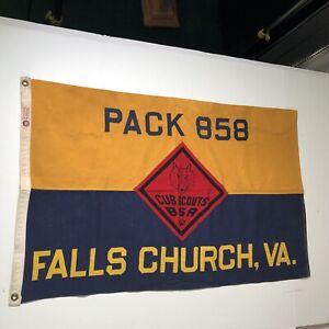 "Vintage BSA Cub Scouts Flag Falls Church VA Pack 859 All Sewn On 35""x 22"""