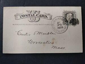 RPO: Boston & N.Y. Short Run 1885 Postal Card, Massachusetts & New York Railroad