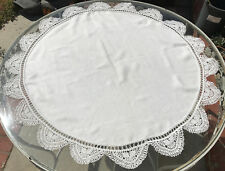 "Round Tablecloth with Crochet Edgeing 38"" across"