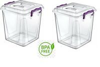 2 X 11 Litre Clear Plastic Box Kitchen Food Flour Storage Container Tub Boxes BN