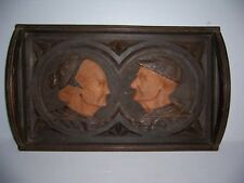 Antique Vintage Hand Carved Wooden Serving Tray of Old Man & Woman Marked Saez