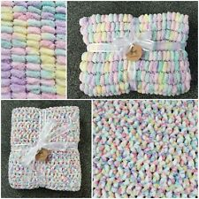 Hand Crocheted Beautiful Super Soft yummy blanket + hand knitted Pom Pom Blanket