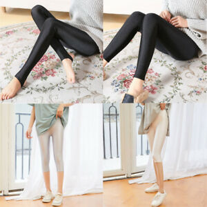 Ladies Elastic Shiny Leggings Solid Color Comfortable Thin Soft Pants Trousers