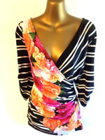 Joseph Ribkoff 16 Top in stripes & floral vibrant colours fixed wrap BNWT (2298A