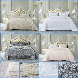 New Luxury Crushed Velvet Embossed Quilted Teddy Fleece Bedspread  All Beds Size