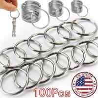 USA 100Pcs Key Rings Chains Split Ring Hoop Metal Loop Steel Accessories 25mm A+