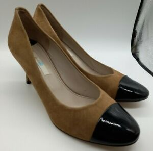 Boden Tan Suede Leather Court Shoes Size 7 UK Stiletto Heel Black Patent Trim