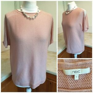 A20  Next Cold Shoulder Blush Pink Sparkle Thin Crochet Top Size Small Uk 10