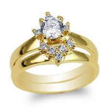 Duo Set 14K Yellow Gold Round CZ Elegant Engagement Wedding Ring Size 4-10