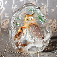 Crystal Animal Owl Figurines Glass Paperweight Collectibles Decor Xmas Ornaments