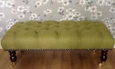 A Quality Footstool Stool In Laura Ashley Dalton Moss Green Fabric
