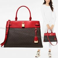 NWT 🌹 MICHAEL KORS GRAMERCY LARGE SATCHEL TOTE SIGNATURE LOGO BROWN BRIGHT RED