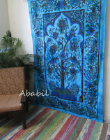 Twin Indian Blue Tree of Life Wall Hanging Tapestry Hippie Bedspread Decor Throw