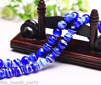 10pcs 12mm Round Lampwork Glass Charms Loose Spacer Stripes Beads Royal Blue