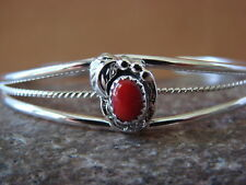 Native American Jewelry Sterling Silver Coral Bracelet! Grace Kenneth