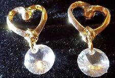 CRYSTAL LOVE HART 9CT GOLD FILLED EARRINGS