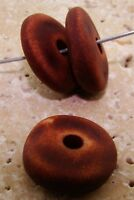 12 VINTAGE BROWN MATTE WASH ACRYLIC 6x20mm. NUGGET DISC SPACER BEADS 7138