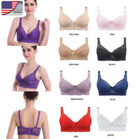 Womens Wireless Push Up Bras Full Coverage Bra Deep V Lace Gather Underwear US