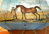 Vintage Blanket Chest Painted Equestrian English Country Horses So Ralph Lauren!