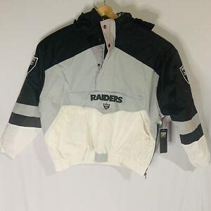New Oakland Las Vegas Raiders NFL Football Team Half Zip Puffer Jacket Hoodie L