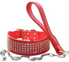 Rhinestone Dog Collar Bling Crystal Diamond Leather Dog Collar & Chain Leash set