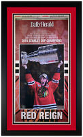 Chicago Blackhawks 2015 Cup Champions Original Newspaper Cover Matted & Framed