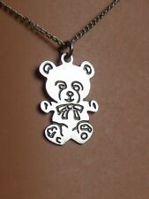 Teddy bear pandant, silver plated on fine 48cm silver plated chain, gift boxed