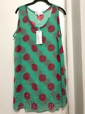 NWT Pretty Angel Silk Sheer Dress Bathing Suit Cover Up Aqua Green & Pink LARGE