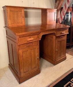 Antique Oak Railroad Desk