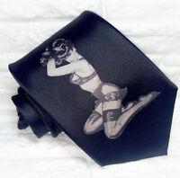 Cravate noire pour homme, N & B pin-up, 100% soie, imprimée, haute qualité