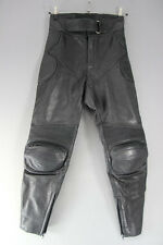 HEIN GERICKE BLACK LEATHER BIKER TROUSERS: WAIST 28 INCHES/INSIDE LEG 31 INCHES