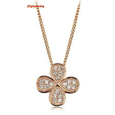 Rose Gold Plated Clear Made with Swarovski Crystals Necklace N173