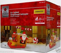 Christmas 8 ft Lighted Animated Gingerbread Helicopter Airblown Inflatable NIB