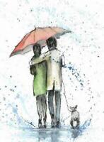 ACEO dog rain umbrella woman men painting original watercolor art card
